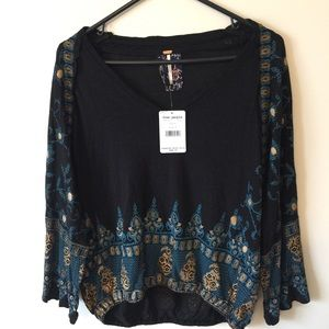 NWT Free People Small Black Gold Pattern Shirt